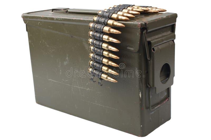 US Army Ammo Box with ammunition belt. Isolated on white background stock photos