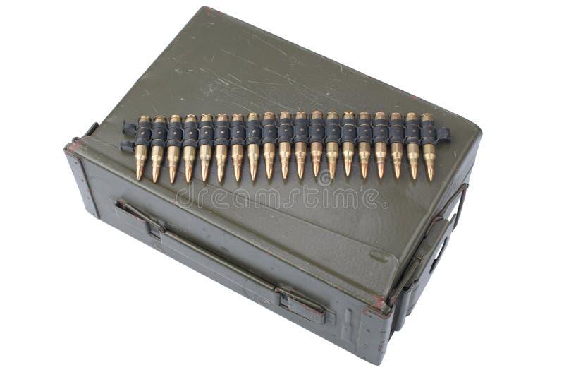US Army Ammo Box with ammunition belt. Isolated on white background stock photography