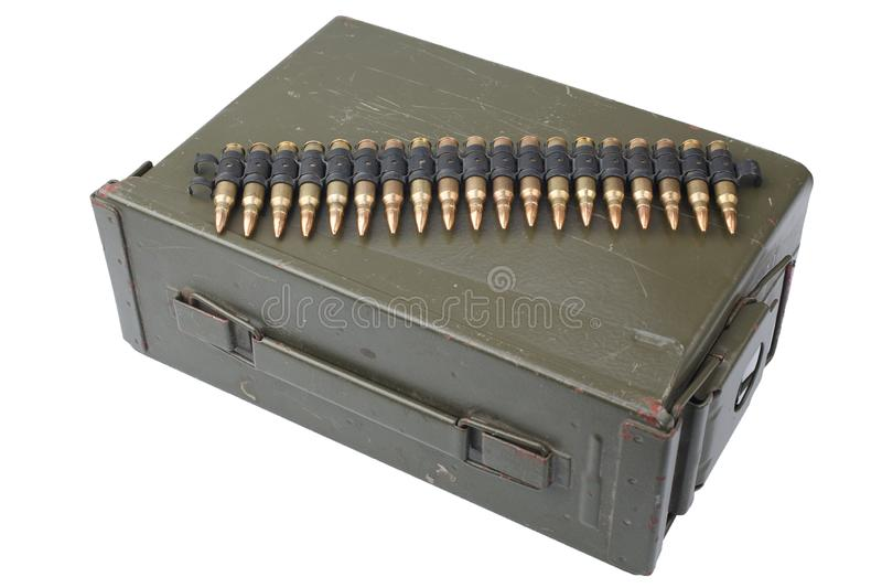 US Army Ammo Box with ammunition belt. Isolated on white background royalty free stock photos