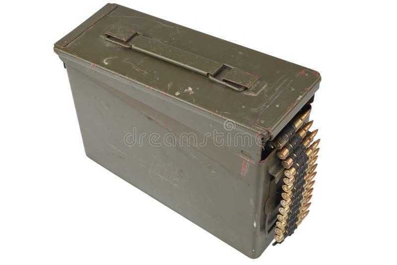 US Army Ammo Box with ammunition belt. Isolated on white background stock image