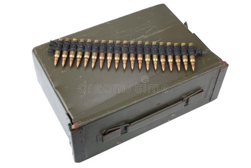 US Army Ammo Box with ammunition belt. Isolated on white background stock images