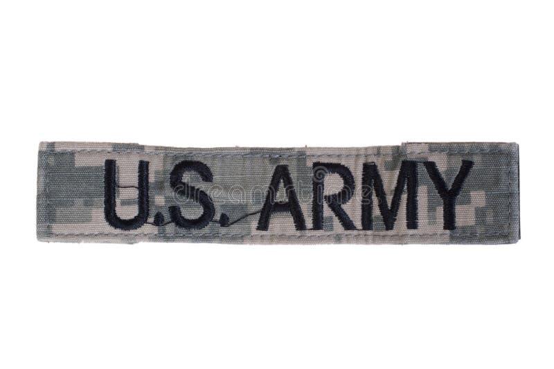 Us army uniform name badge. Us army camouflaged uniform name badge royalty free stock photo
