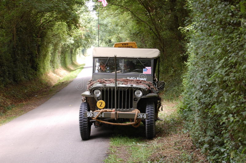 US army car willis. DDay in France 2009 near Utah beach royalty free stock images