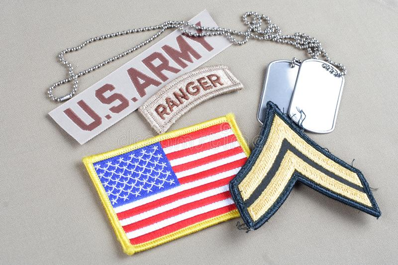 US ARMY Corporal rank patch. Ranger tab, flag patch and dog tag stock photography