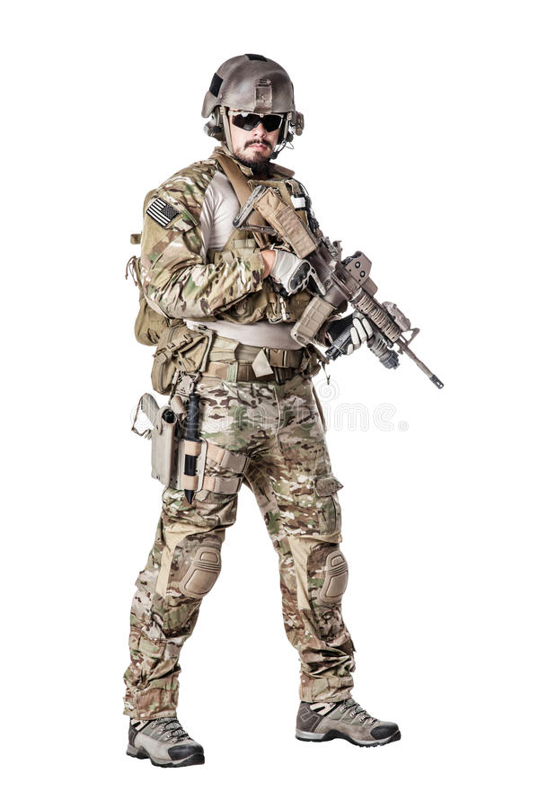 US Army Green Beret. Green Berets US Army Special Forces Group soldier studio shot stock image