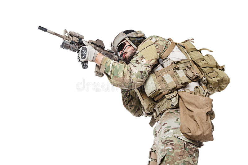 US Army Green Beret. Green Berets US Army Special Forces Group soldier studio shot stock images