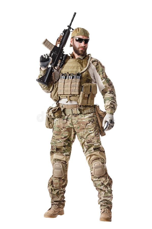 US Army Green Beret. Green Berets US Army Special Forces Group soldier studio shot royalty free stock image