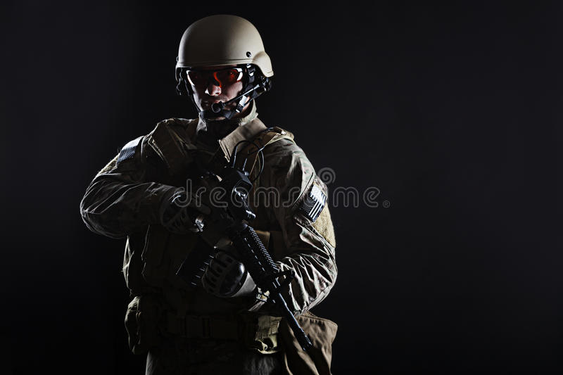 US Army Green Beret. Green Berets US Army Special Forces Group soldier studio shot royalty free stock photos