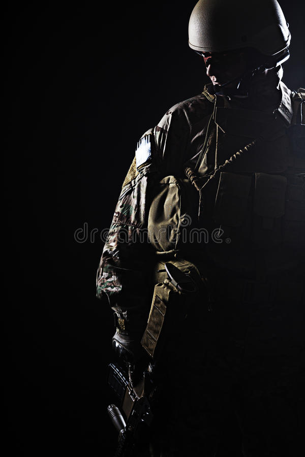 US Army Green Beret. Green Berets US Army Special Forces Group soldier studio shot royalty free stock photo