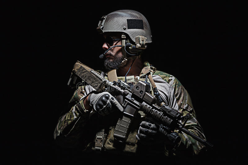 US Army Green Beret. Green Berets US Army Special Forces Group soldier studio shot royalty free stock photography