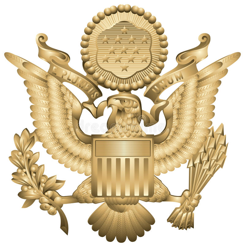 US Army Insignia. US Army Officers Hat Insignia, United States military symbol, drawing from the World War II Peaked cap, eagle