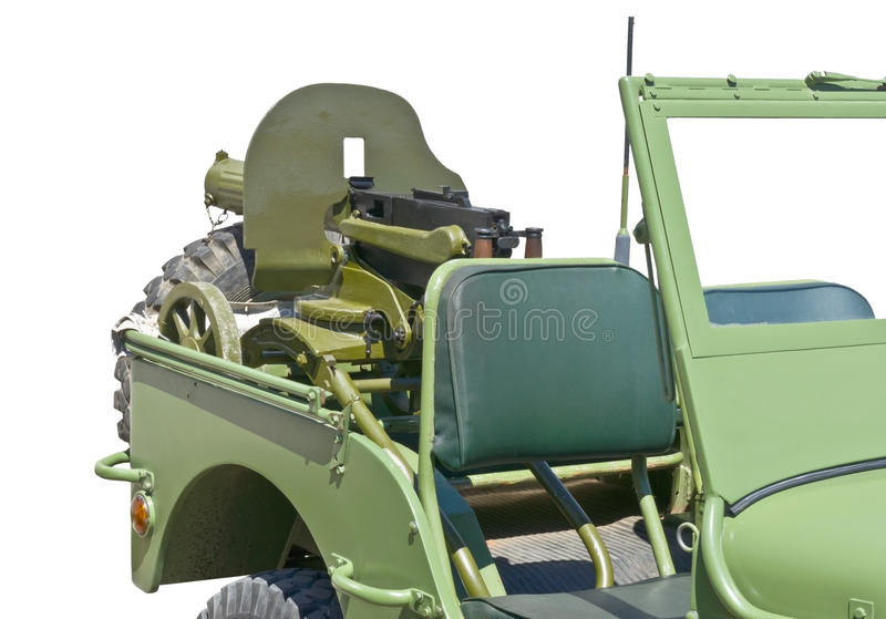 US army jeep. World war 2 era US army jeep with machine gun royalty free stock images