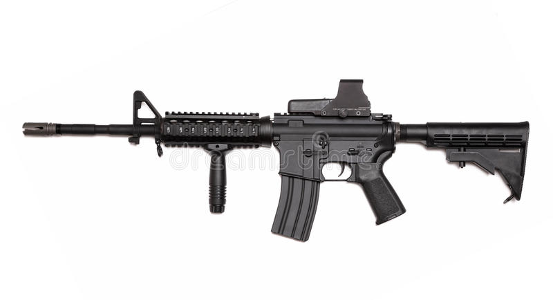 US Army M4A1 rifle with holographic sight. royalty free stock image
