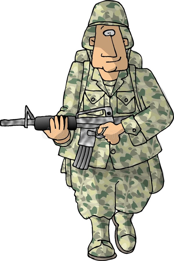 Download US Army man stock illustration. Image of uniform, funny - 57852