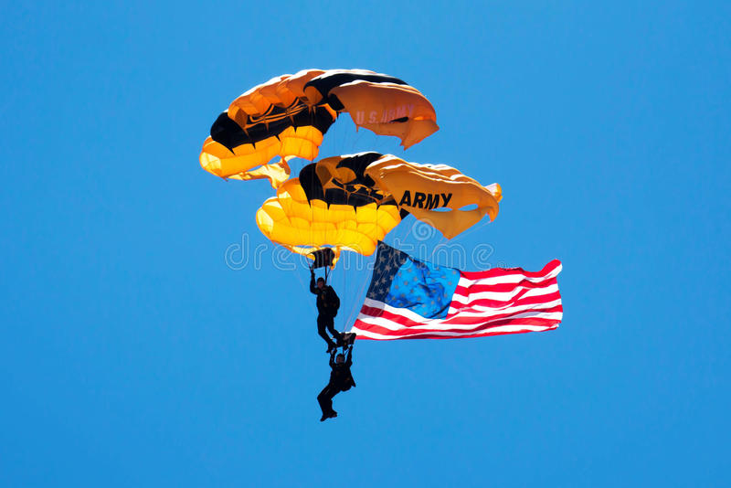 US Army Paratroopers with American Flag stock images