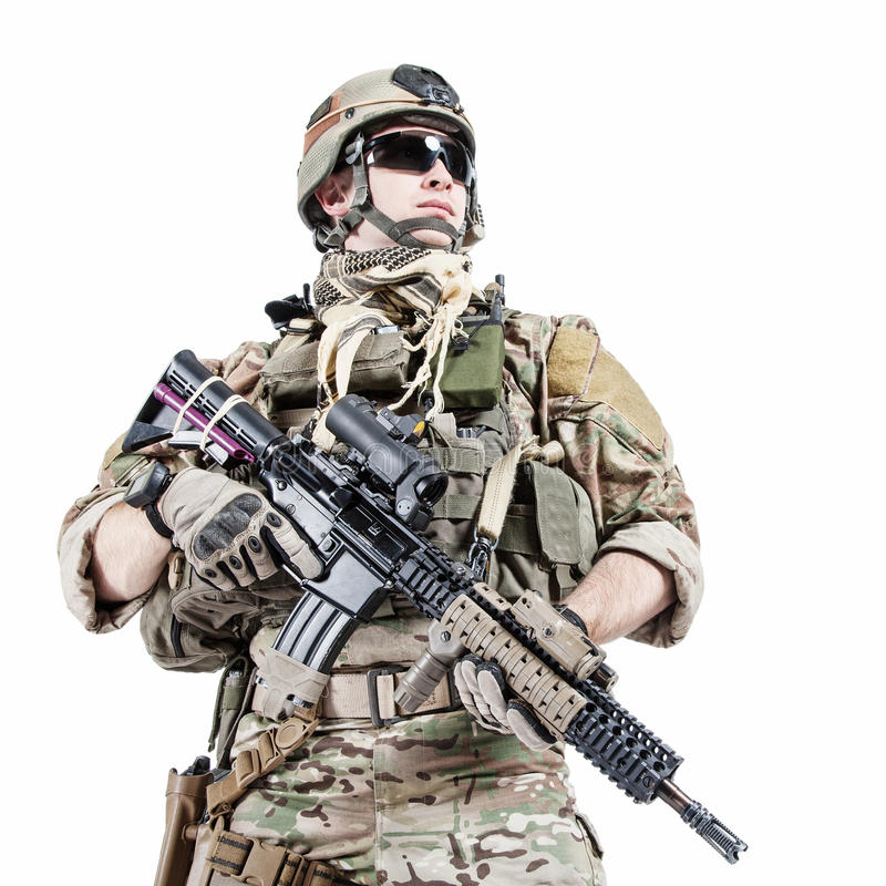 US army ranger. United States Army ranger with assault rifle royalty free stock photography