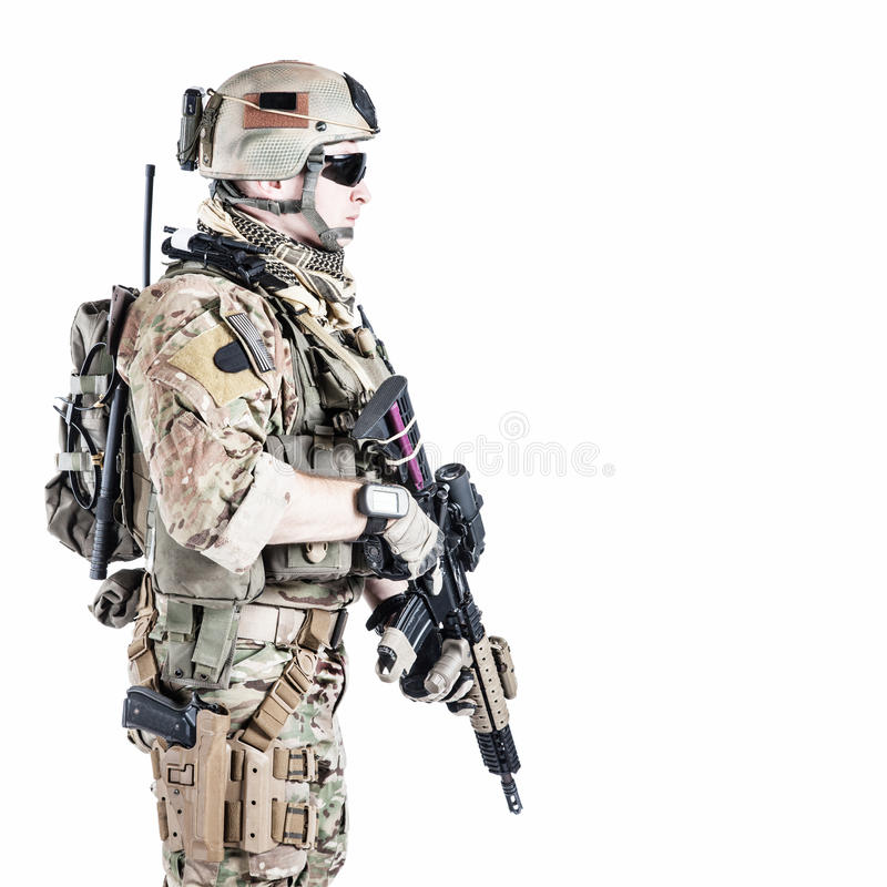 US army ranger. United States Army ranger with assault rifle royalty free stock image