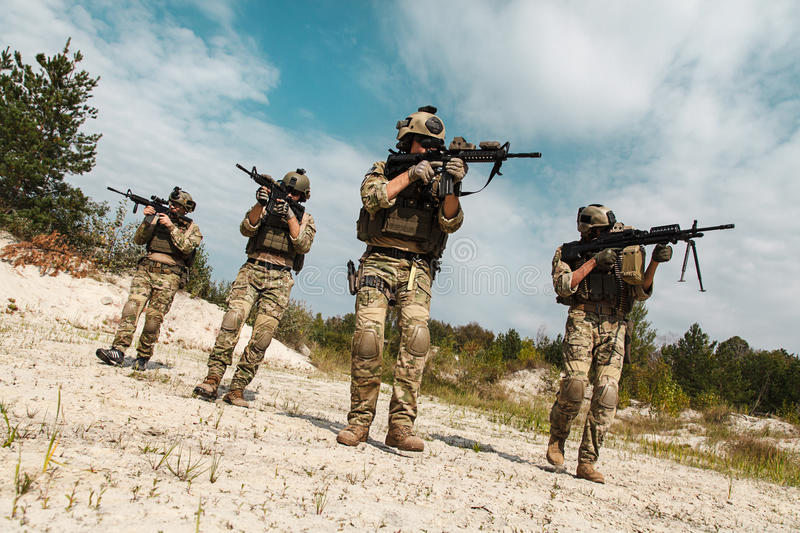 US Army Rangers in the desert royalty free stock image