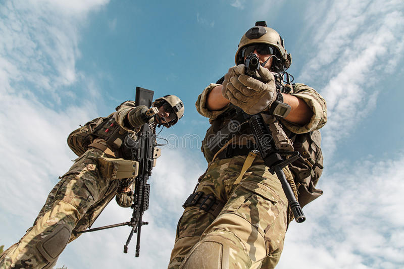 US Army Rangers with weapons stock image