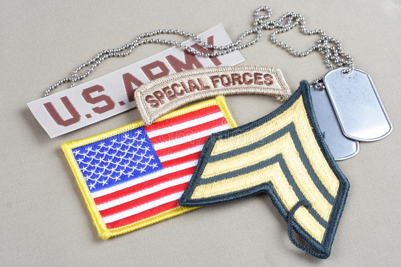 US ARMY Sergeant rank patch. Special forces tab, flag patch and dog tag royalty free stock image