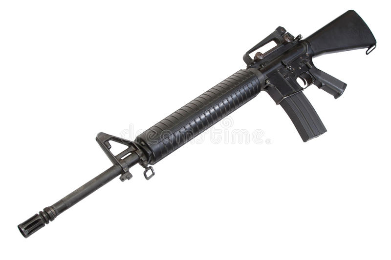 US Army service rifle M16 rifle. Isolated on a white background stock photography