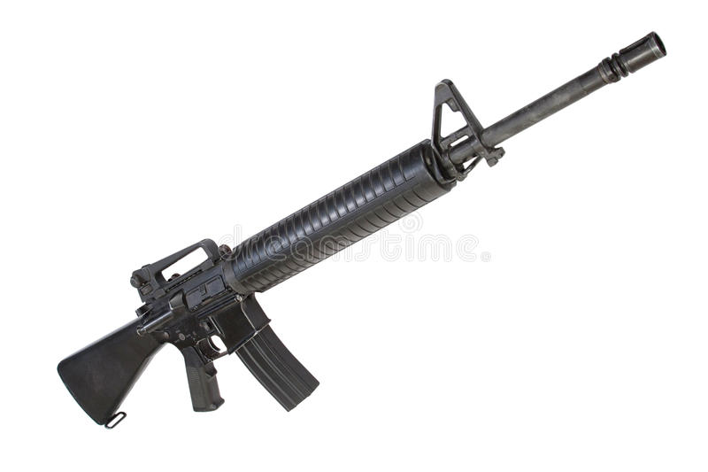 US Army service rifle M16 rifle. Isolated on a white background royalty free stock photos