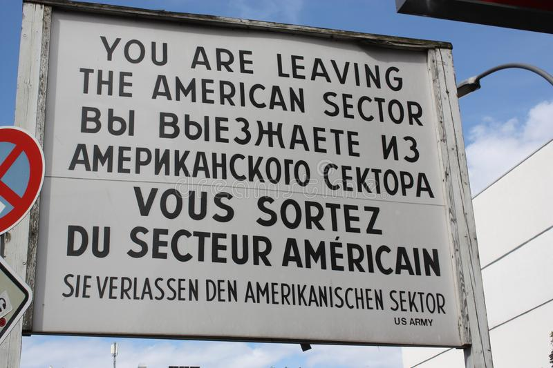 US army sign from old inner-german border in berlin royalty free stock image
