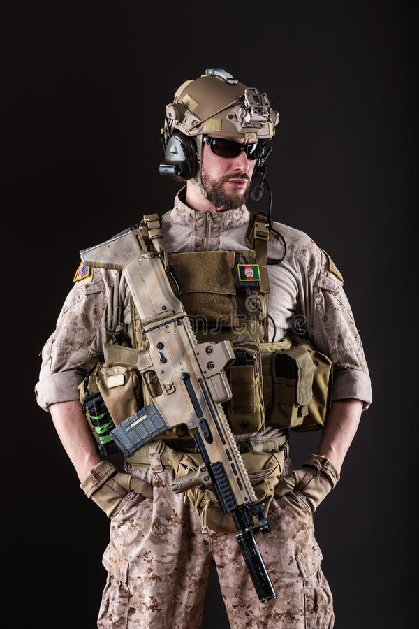 US Army Soldier on Dark Background royalty free stock images