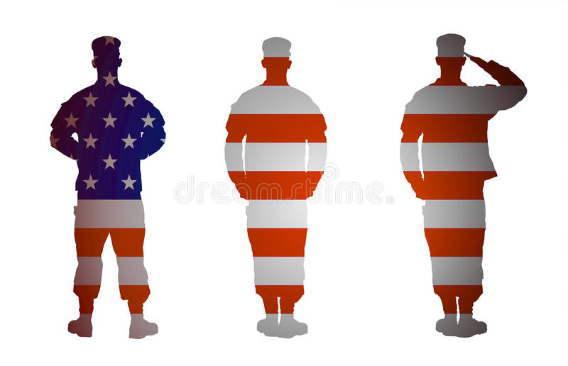US Army soldier in three positions isolated on white background royalty free illustration