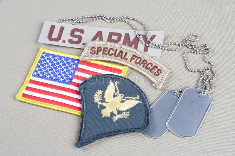 US ARMY Specialist rank patch,. Special forces tab, flag patch and dog tag royalty free stock photo