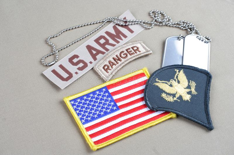 US ARMY Specialist rank patch. Ranger tab, flag patch and dog tag stock photo