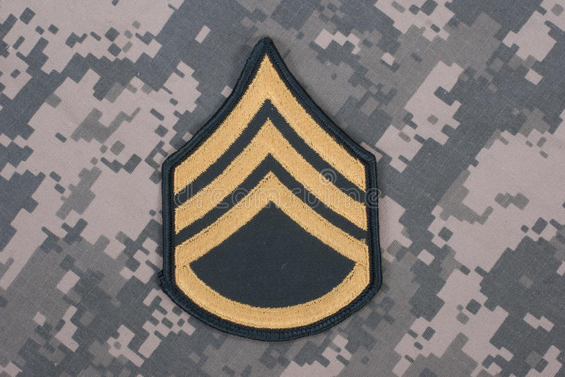 Us army uniform sergeant rank patch stock image