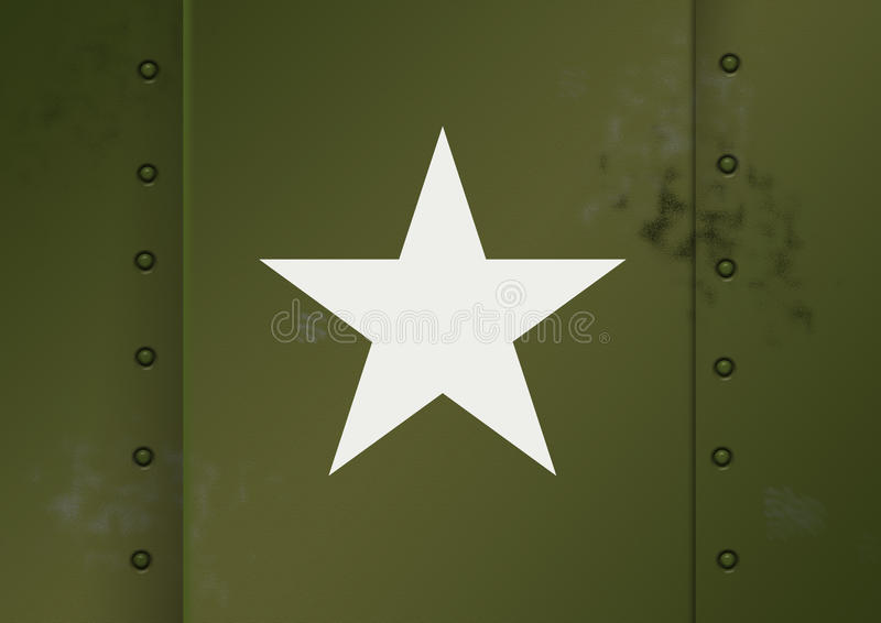 US Army WWII. US Army badge on military hardware royalty free illustration
