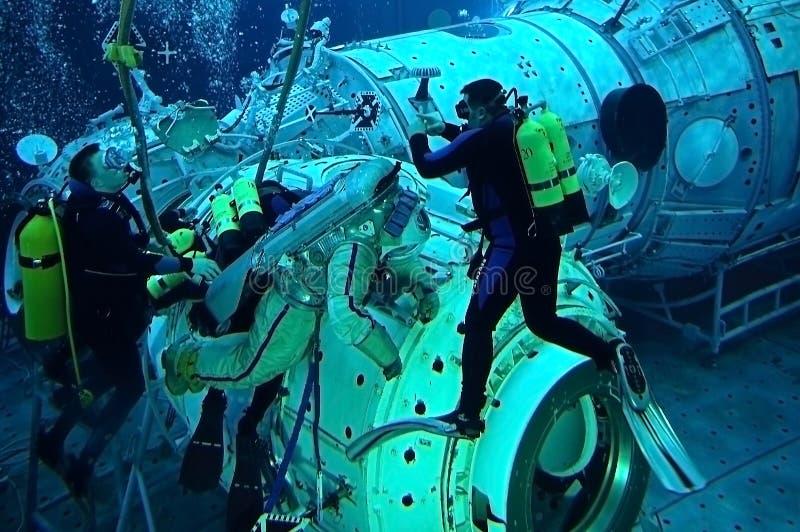 US Astronaut Michael Barratt in the Hydrolab Pool royalty free stock photos