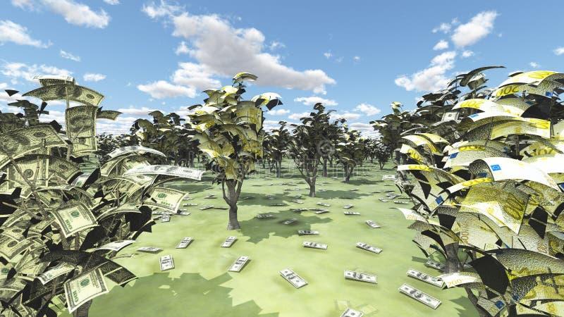 US-Bargeld-und -Euro-Waldung stock abbildung