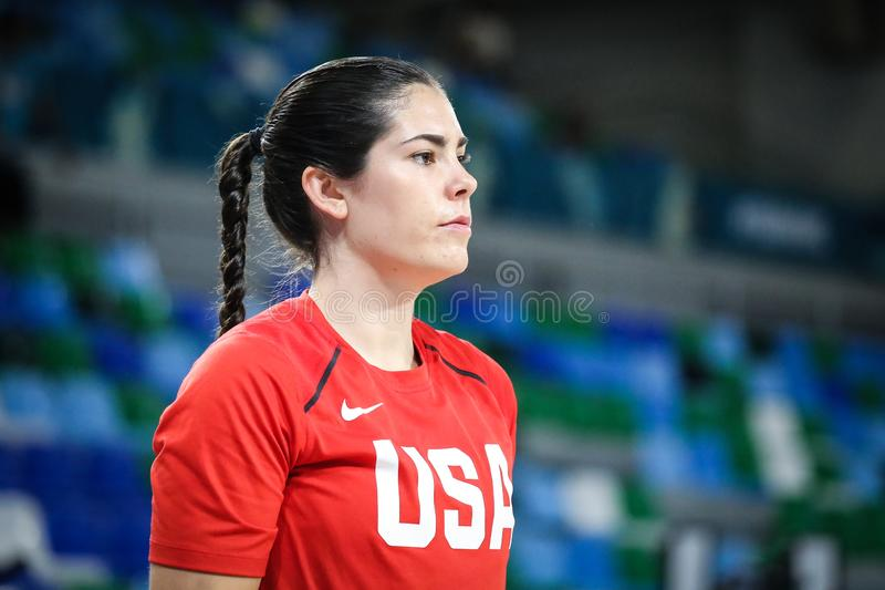 US basketball player, Kelsey Plum, in action during warm-up session before basketball match LATVIA vs USA stock photos