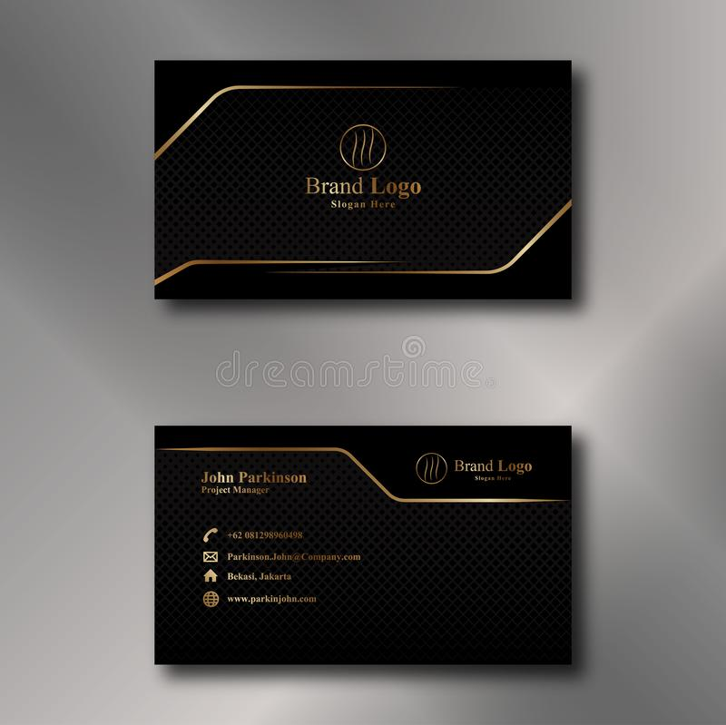 Gold and Black Business Card Vector stock illustration