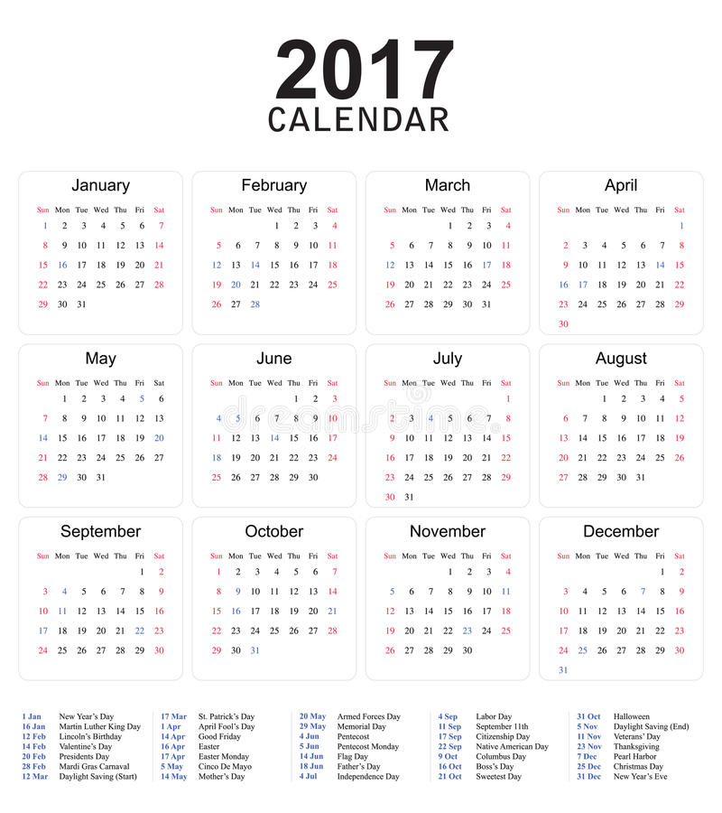 Download US Calendar 2017 Simple Design Stock Vector - Illustration of simple, ready: 83716458