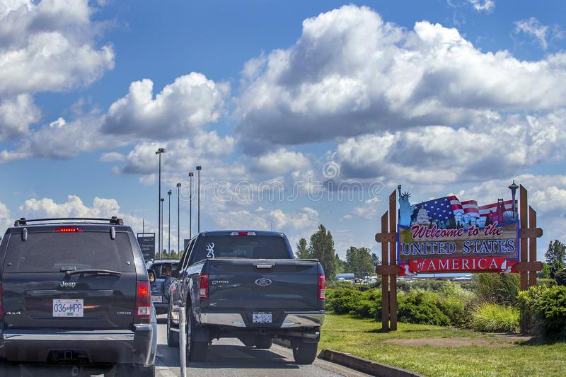 US/Canada Border crossing stock images