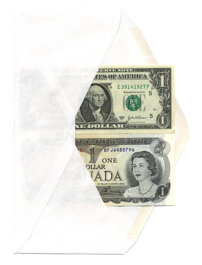 US and Canadian dollar bills. Envelope with US and Canadian one dollar bills stock image