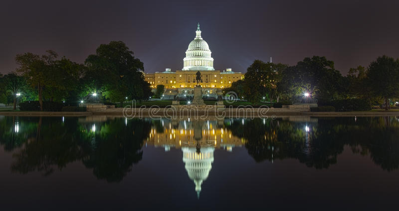 US Capital Building Reflection at night royalty free stock photo