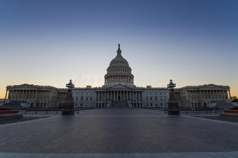 US Capital building in Washington DC, USA. This photo was shot from the US Capital building in Washington DC, USA in the evening after sunset stock photos