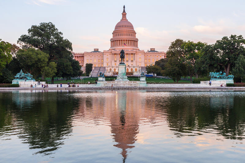 US Capital building in Washington DC, USA. This photo was shot from the US Capital building in Washington DC, USA in the evening after sunset stock photography