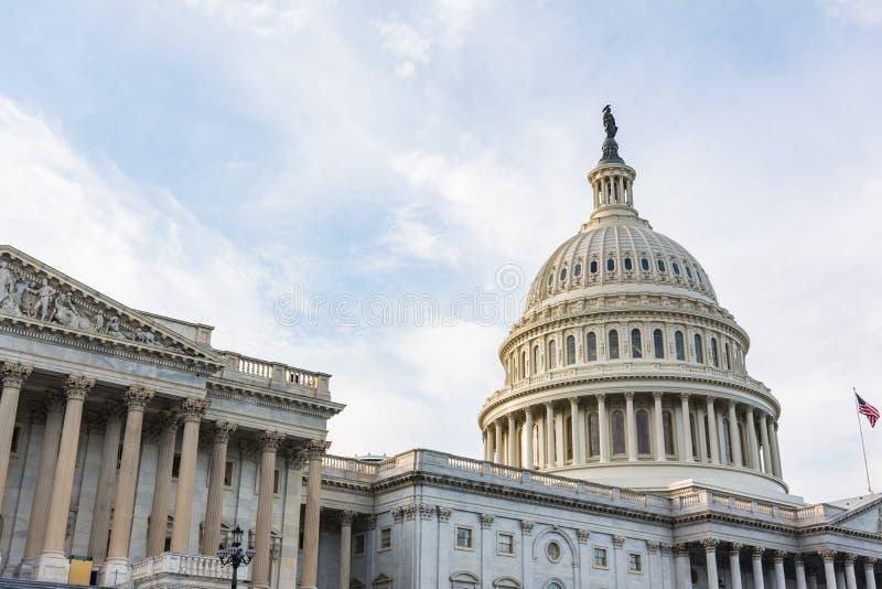 US Capitol Buiding Washington DC Dome Detail Closeup Alone Daylight Shadow Sunshine American Landmark royalty free stock image