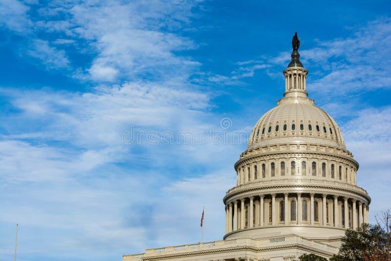 US Capitol Buiding Washington DC Dome Detail Closeup Alone Daylight Shadow Sunshine American Landmark stock photography