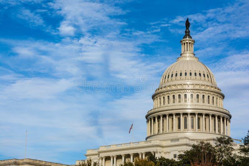 US Capitol Buiding Washington DC Dome Detail Closeup Alone Daylight Shadow Sunshine American Landmark royalty free stock photos