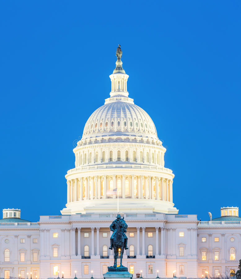 US Capitol Building dusk stock images