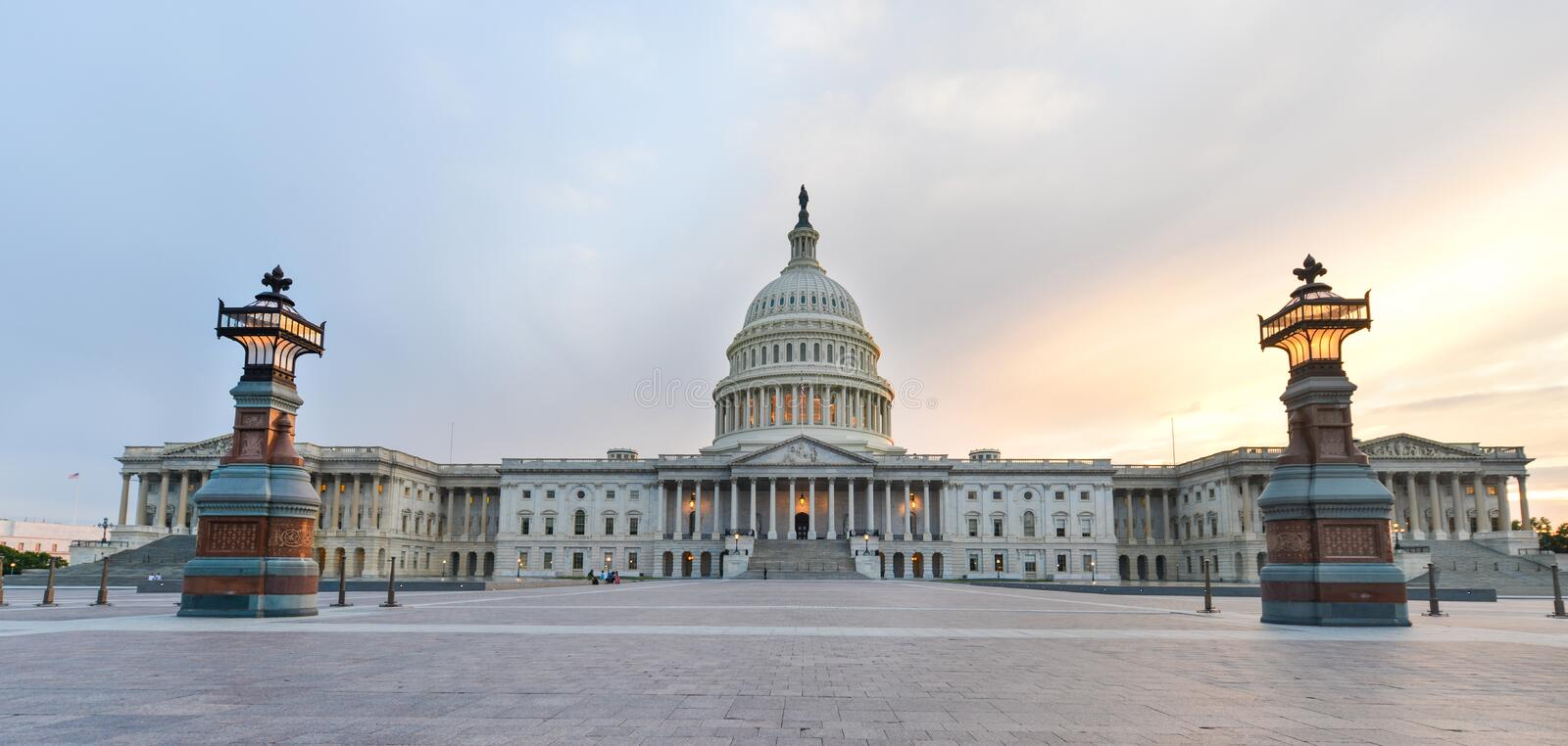 US Capitol building eastern facade at sunset, Washington DC stock photography