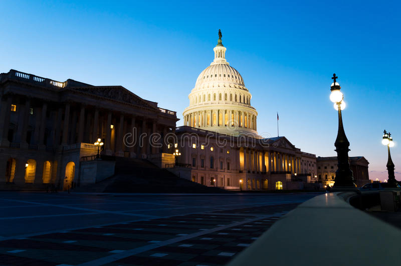 US Capitol building at night royalty free stock images