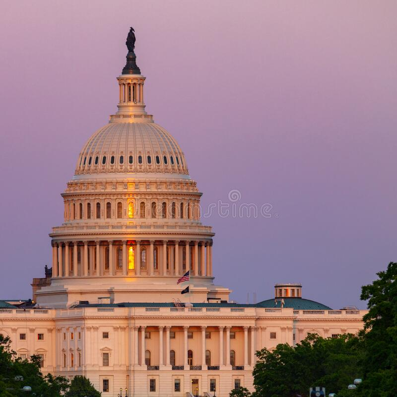 US Capitol Building at Sunset stock images